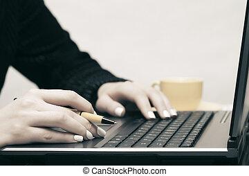 używający laptop, kobieta handlowa