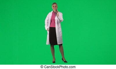 używający stetoskop, samica, jej, doktor
