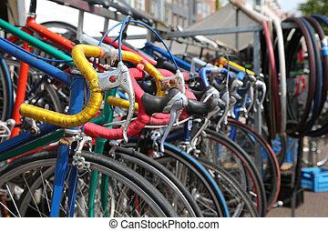 używany, alfresco, rocznik wina, sprzedaż, rowery, pchła, biegi, targ