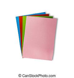 używany, barwny, odizolowany, papier, tło, biały