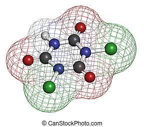 używany, molekuła, disinfec, acid), (dichloroisocyanuric,...