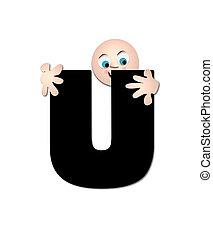 u, alfabeto, feliz