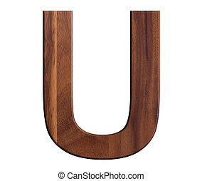U, alphabet letters wooden on white background