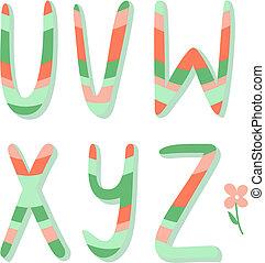 u, alphabet, rayé, lettres