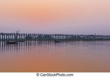 U Bein Bridge after sunset in Myanmar
