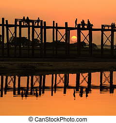 U Bein bridge at sunset, Myanmar