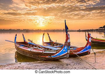 U-Bein Bridge Boats - Mandalay, Myanmar on the Taungthaman...