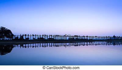 U Bein bridge, Myanmar - Stunning view of U Bein bridge at...