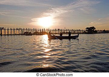 U-bein teak bridge in Mandalay Myanmar at sunset