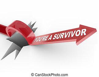 u bent, overlevende, op, springt, richtingwijzer, veerkrachtig, gat