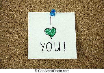 u, boodschap, liefde, plank, kurk