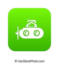 u boot, periscope, ikone, grün
