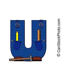 u, carpinteiro, ferramentas, alfabeto