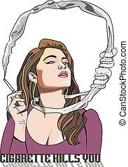 u, doodt, illustratie, sigaret, vrouw, smoking