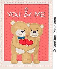 u, en, mij, poster, met, beren, minnaars, vasthouden, hartjes