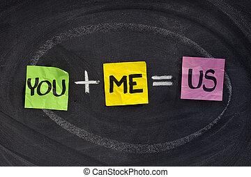 u, en, mij, -, verhouding, concept