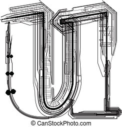 u, font., 手紙, 技術的である