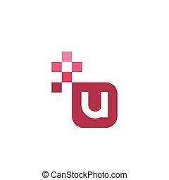 U Font Vector Template Design