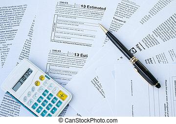 u, kształt, pióro, opodatkować, s, kalkulator