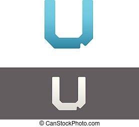 U Letter Alphabet Abstract vector text logo