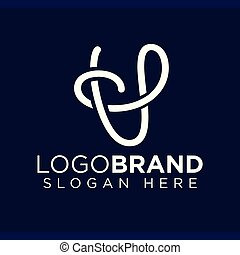 U Letter Line Logo Vector template