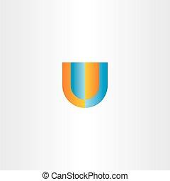 u letter logo orange blue vector icon