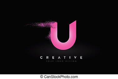 U Letter Logo with Dispersion Effect and Purple Pink Powder ...