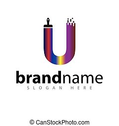 U letter with brush color logo icon vector template