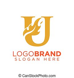 U Letter with Flame Fire logo vector