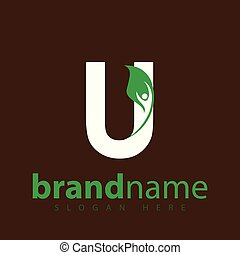 u letter with leaf people logo icon vector template