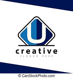 U Letter with plaque square logo icon vector template