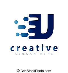u letter with speed pixel logo icon vector template