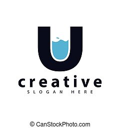 U letter with water logo icon vector template