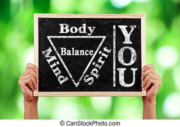 u, lichaam, geest, ziel, verstand, evenwicht