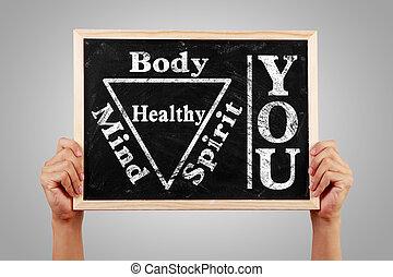 u, lichaam, geest, ziel, verstand, gezonde