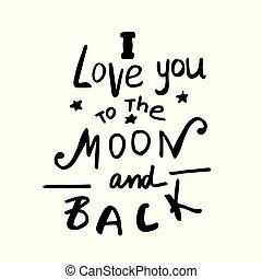 u, liefde, back, maan