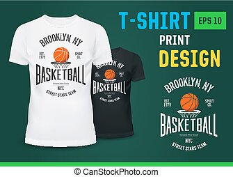 U-neck t-shirt with basketball NY team sign