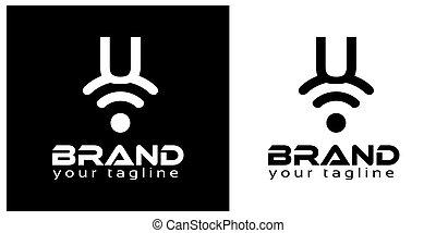 U online logo template, stock logo template.