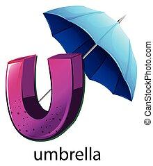 u, parapluie, lettre