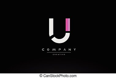 u pink black white creative modern letter logo icon design vector