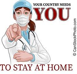 u, poster, verblijf, vrouw, thuis, arts, wijzende, behoeftes