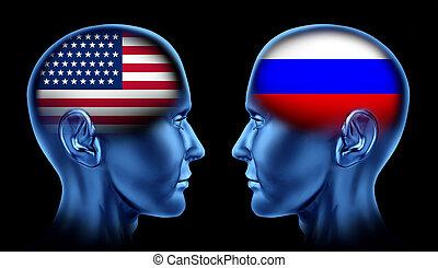 u. s. een, en, rusland, handel, teamwork