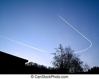 Airplane making a u-turn.