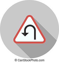 U - turn - Turn, road, sign icon vector image. Can also be...