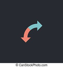 U-Turn computer symbol - U-Turn Color vector icon on dark...