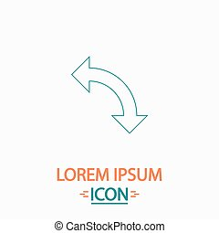 U-Turn computer symbol - U-Turn Flat thin line icon on white...