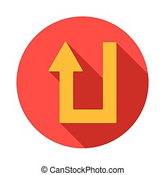 U turn icon, flat style - U turn icon in flat style on a...