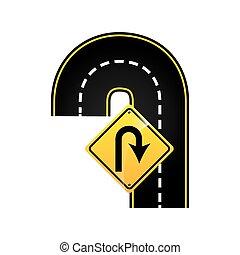 u-turn road sign concept graphic vector illustration eps 10