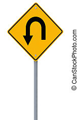 U-Turn Road Sign  - U-turn road sign isolated on white