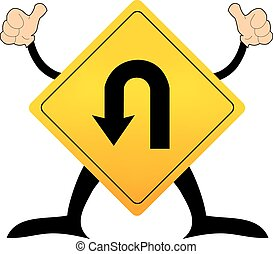 U-Turn Roadsign - Yellow road sign with turn symbol isolated on